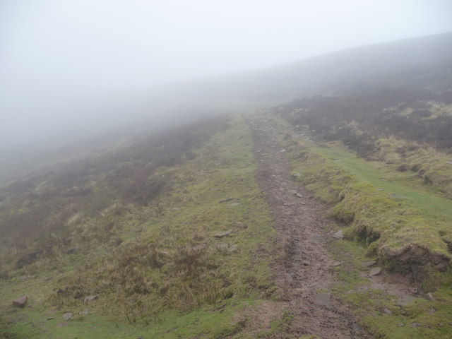 Sheltered path between Mynydd Llysiau and Pen Trumau