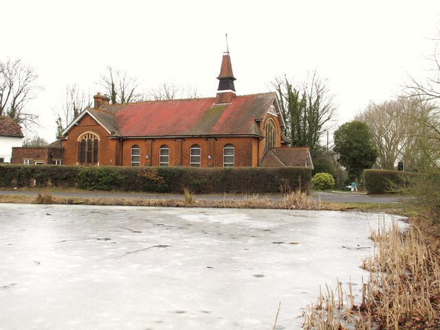 Frozen pond and the Church of The Brotherhood of The Cross and Star, Milespit Hill, NW7
