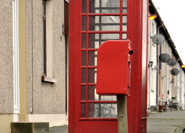 Letter box and telephone box near Lambeg