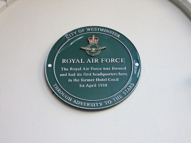 Green plaque at the former Hotel Cecil, The Strand