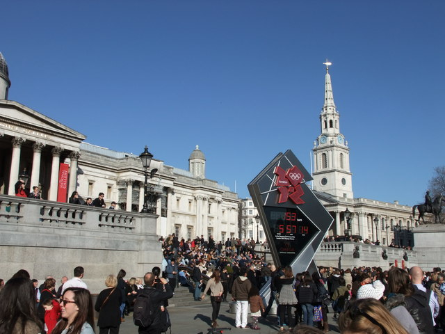 London 2012 clock in Trafalgar Square-153 days to go