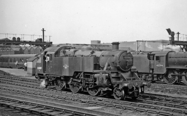 Crewe Station, south end, with BR Standard 2-6-2T