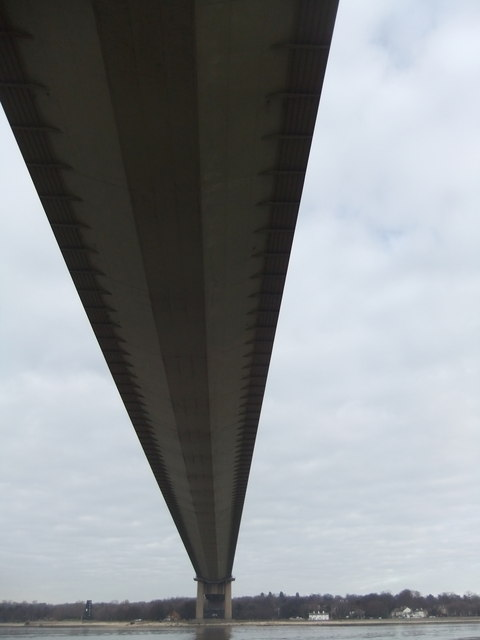 Under the Humber Bridge looking north