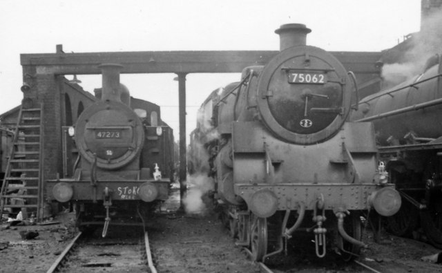 Locomotives at Stoke Shed in latter days of steam