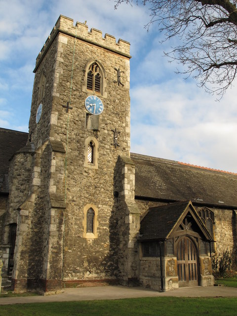 St. Mary's Church, Neasden Lane, NW10 - tower and porch