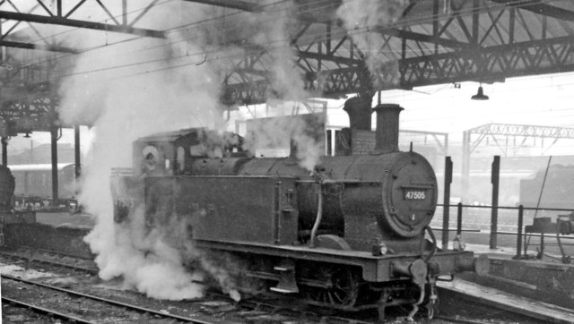 Wintry scene at Crewe Station, with LMS Fowler 0-6-0T