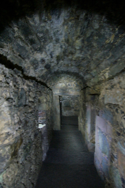 Corridor in the basement of Muness Castle