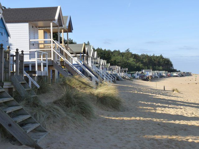 Beach huts in winter sunshine