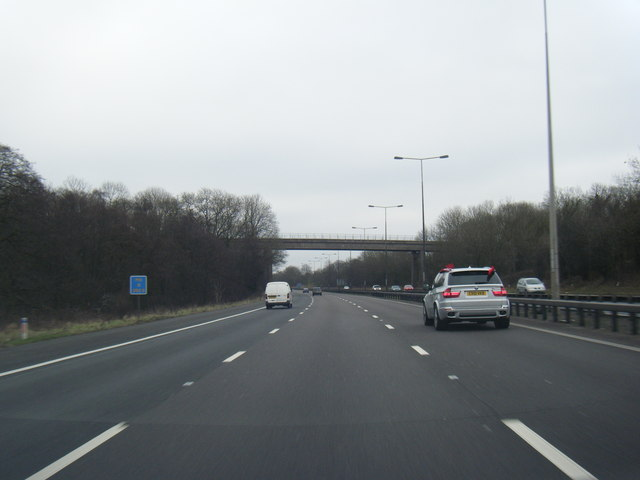 M6 south approaching disused railway bridge