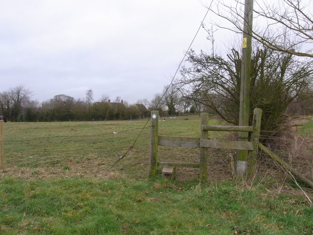 Stile between paddocks, near Kington Grange
