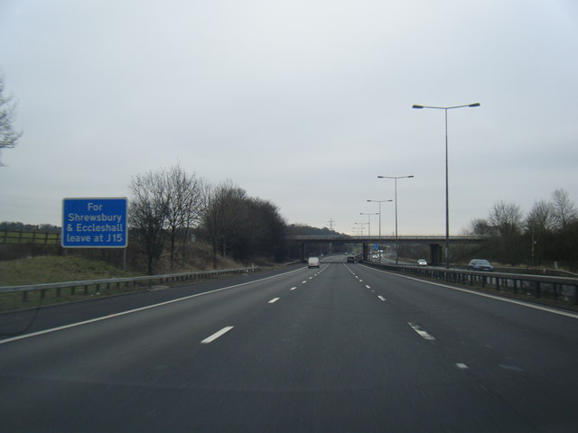 M6 south approaching Whitmore Road overbridge