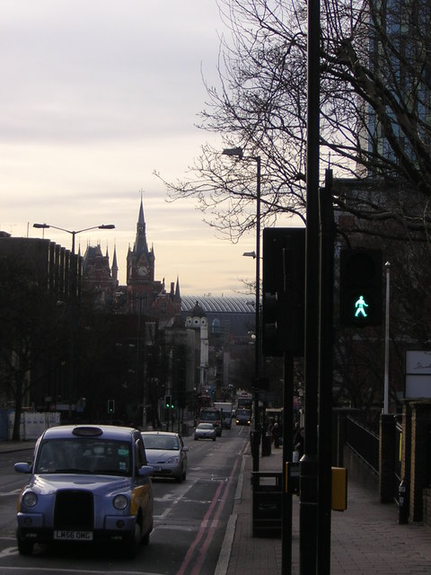 Looking down Pentonville Road towards St Pancras