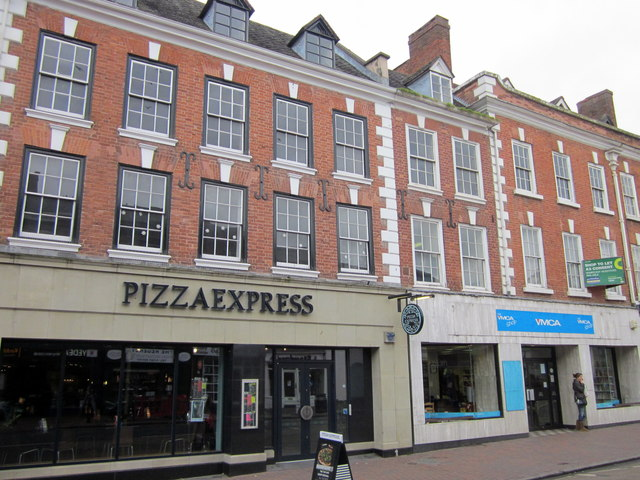 Bromsgrove High Street  Pizza Express & YMCA Shop