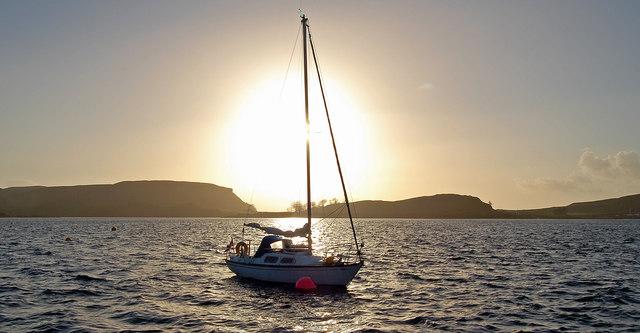Hazy sunset at the Oban Sailing Club moorings