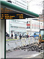 SZ0991 : Bournemouth: bus stop roadworks by Chris Downer