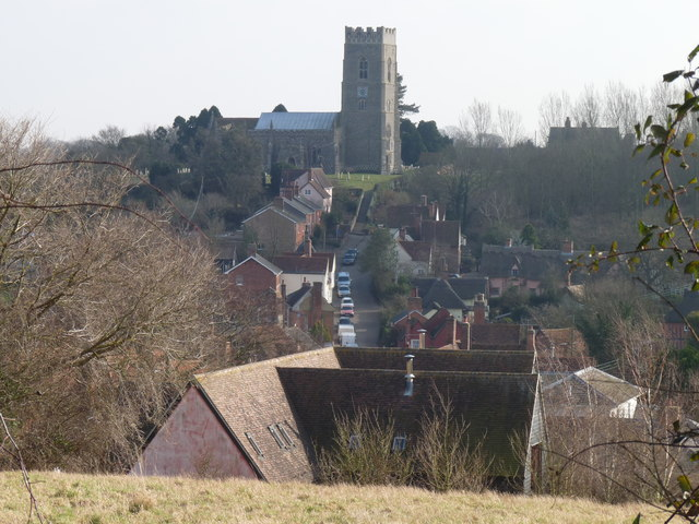 Kersey street and church from the north-east