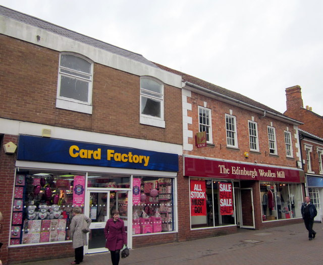 Bromsgrove High Street  Card Factory & Edinburgh Woollen Mill