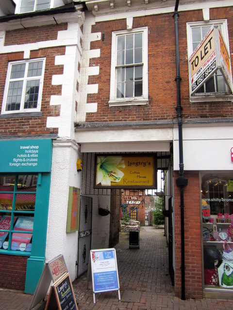 Bromsgrove High Street  Entrance to Langtry's Coffee House Restaurant