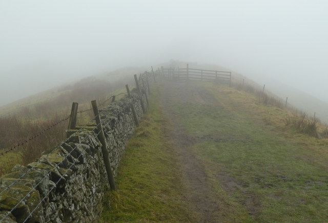 Ridge path to Lord's Seat on a misty morning