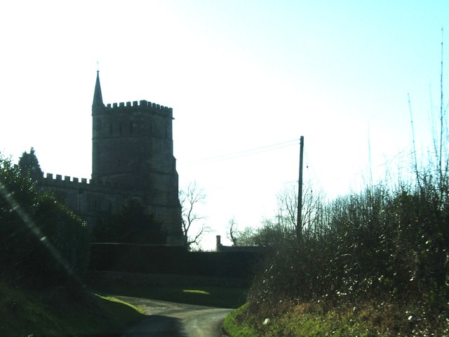 Bend in the road by Hawkesbury Church