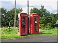 NG5535 : Two red telephone kiosks, Inverarish, Raasay by P L Chadwick