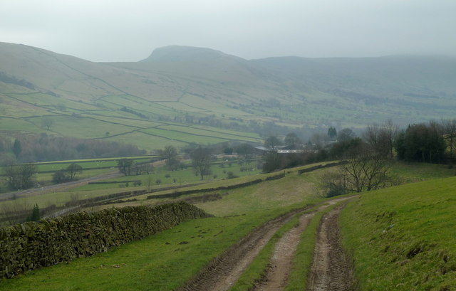 Track and Edale valley view near Clough Farm
