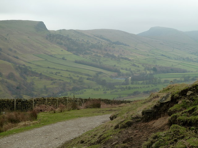 Track corner and view across the Edale valley