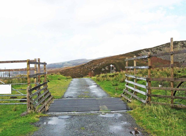 Cattle grid in road, near Oskaig, Raasay