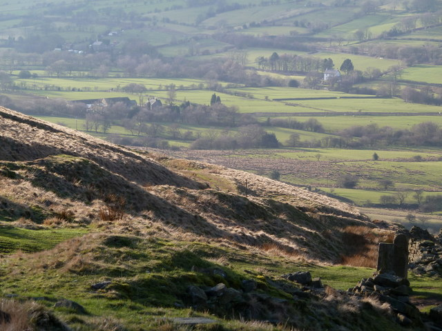 Hillside and valley below Hollins Cross
