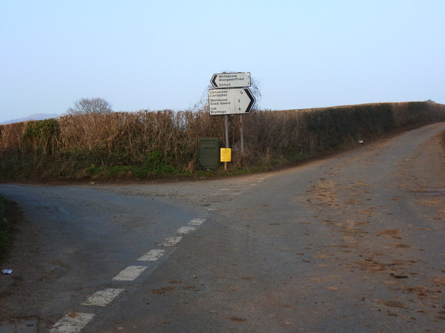 Road junction on the back roads north of the A48 near Penhow