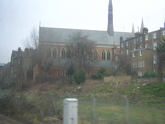 Church of St Cuthbert with St Matthias, from the West London Line