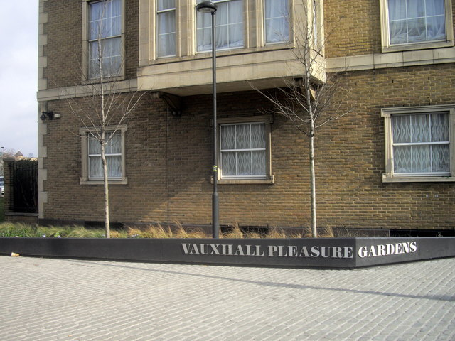 Sign: Vauxhall Pleasure Gardens, Kennington Lane, Vauxhall