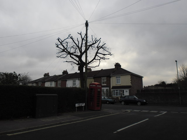 Telephone box at the corner of Frater Lane and Anthony Grove