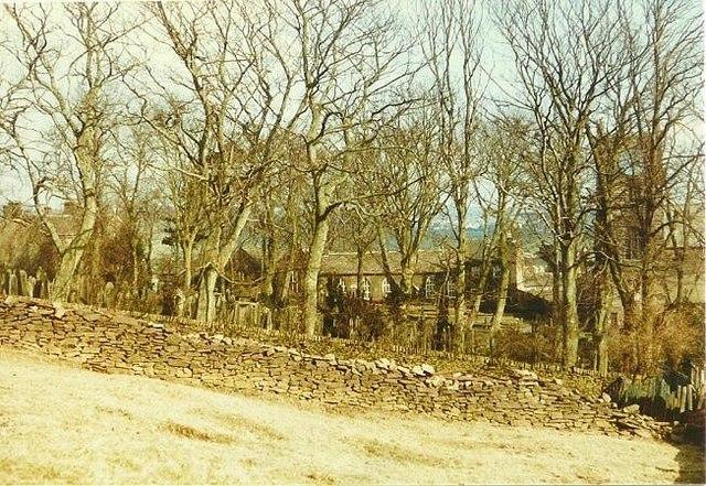 Haworth landmarks through the trees in 1984
