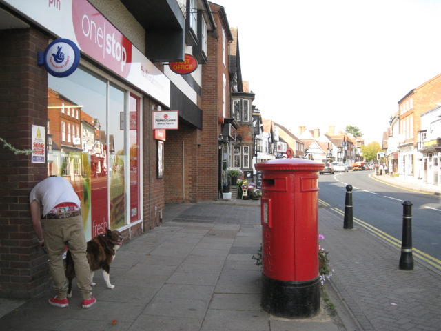 Postbox and Post Office entrance, High Street