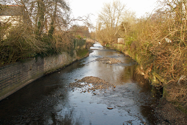 River Rea downstream from Dogpool Lane bridge, Selly Park