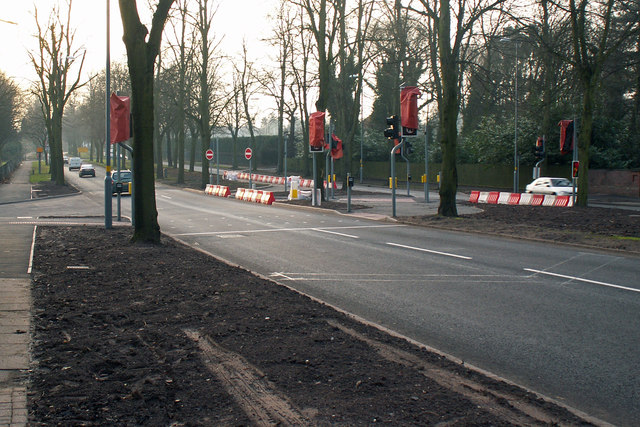 Traffic lights and new road junction for proposed science park, Bristol Road, Birmingham