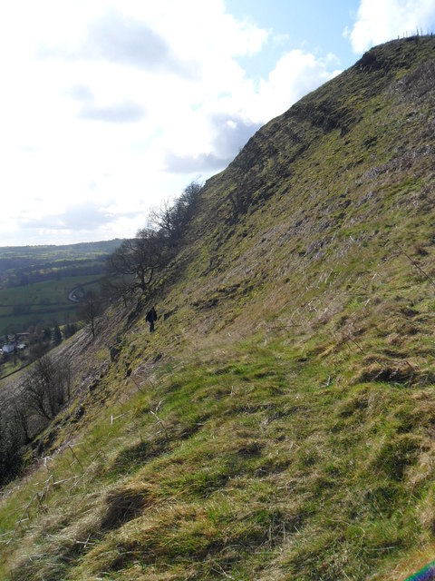 Steep path on east slope of Moel Bentyrch
