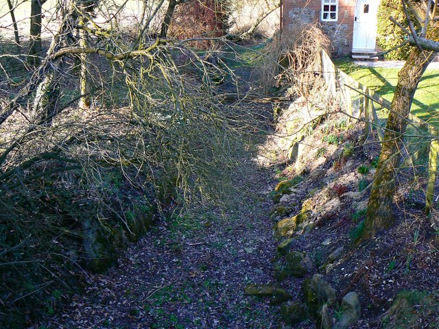 An upstream view of the course of the River Og, Ogbourne St Andrew, near Marlborough