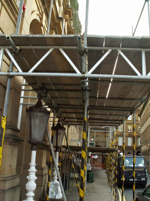 Scaffolding outside Halifax Town Hall