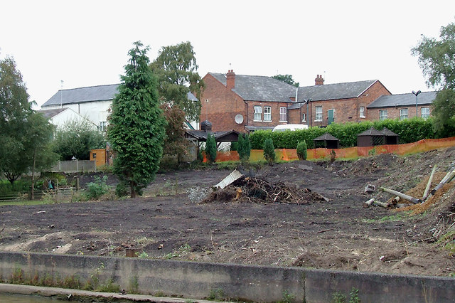 Canalside building site in Middlewich, Cheshire
