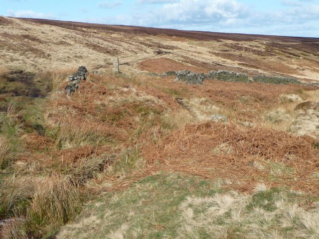 Footpath ford at the top of Hey Clough, Stopes Moor