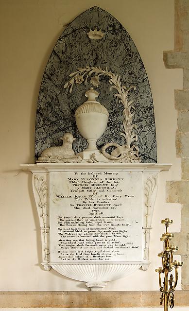 Monument to Mary Burdett - Holy Cross church, Ramsbury