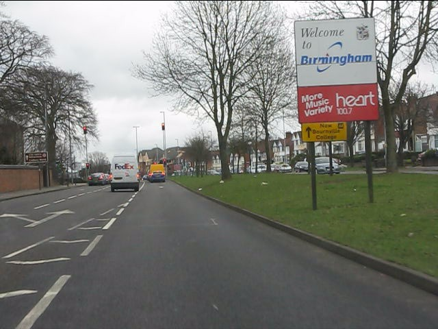 Welcome to Birmingham on the northbound A38