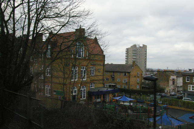 Kingswood School glimpsed from the train