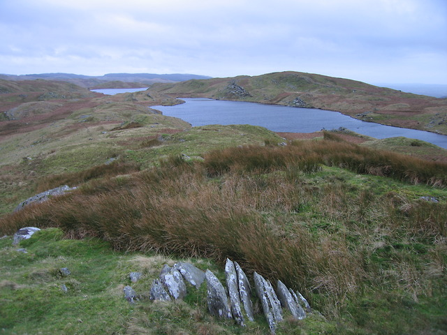 Craig Ddu Fach with two of the Teifi Pools