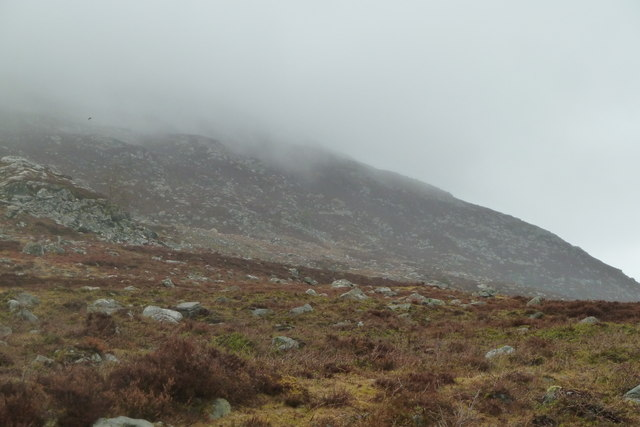 Slopes of Creag Mhor in low cloud