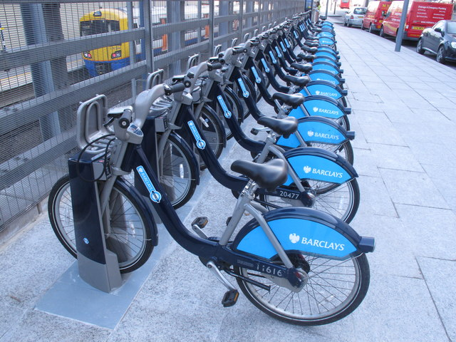 Barclays cycle hire at Westfield, SE docking station