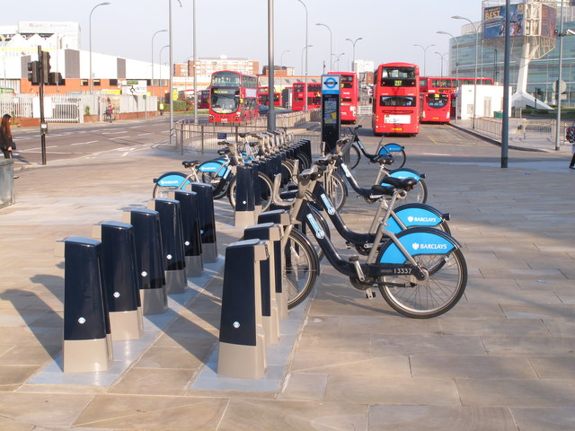 Boris bikes at Westfield, NW docking station