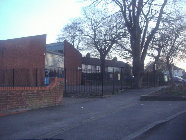 Grove Park youth club and houses on Grove Park Road